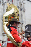 Portrait of the trumpeter in Bruges. Stock Photo