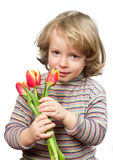 Portrait with the tulips. Stock Photos