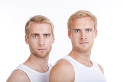 Portrait of twin brothers Stock Photos