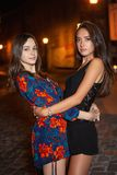 Portrait two adorable young brunettes. Posing at night outdoors standing on the road dressed in short overalls stock photo