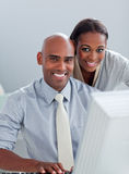 Portrait of two Afro-American colleagues working Stock Images