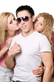 Portrait of a two attractive blonde women with young man Royalty Free Stock Photos
