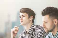 Portrait of two attractive guys Royalty Free Stock Photos
