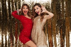 Portrait of two attractive happy women in sparkly dresses royalty free stock photo