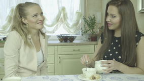 Portrait of two attractive smiling young women having tea at dining table. Portrait of two smiling young women having tea at dining table.  Two Caucasian friends stock video footage