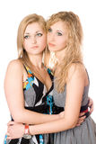 Portrait of two attractive young women Stock Photos