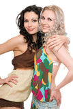 Portrait of two attractive young women. Isolated Stock Photo
