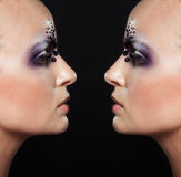 Portrait of two bald girls with creative makeup Stock Photo