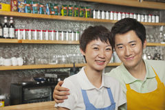 Portrait of two baristas at a coffee shop, Beijing Royalty Free Stock Image