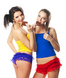 Portrait of two beautiful cheerful women royalty free stock photo