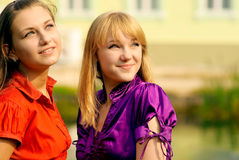 Portrait of  two beautiful girls Stock Image