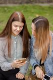Portrait of two beautiful girls are looking into the phone, sitting on a bench in the autumn park royalty free stock photo