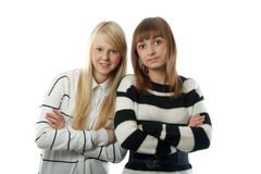 Portrait two beautiful girls in striped cloth Royalty Free Stock Photos