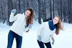 Portrait of two beautiful girls in winter park Royalty Free Stock Image