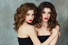 Portrait of two beautiful, glamorous, sensual brunette with gorg Stock Photography
