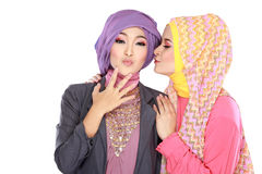 Portrait of two beautiful muslim woman having fun Stock Photos