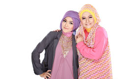 Portrait of two beautiful muslim woman having fun Royalty Free Stock Photos