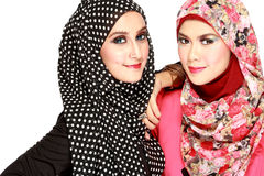 Portrait of two beautiful muslim woman having fun Stock Photography