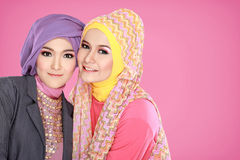 Portrait of two beautiful muslim woman together. Portrait of two beautiful muslim women having fun together Stock Images
