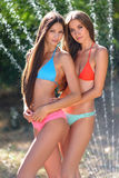 Portrait of two beautiful sexy girls on the beach in summer Stock Images
