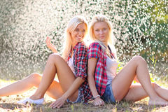 Portrait of two beautiful sexy girls Royalty Free Stock Images