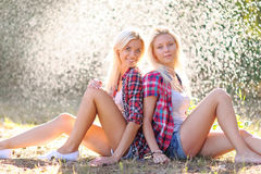 Portrait of two beautiful sexy girls Stock Photo