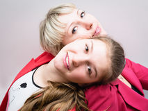 Portrait of two beautiful smiling woman stock image