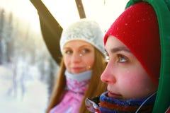 Portrait of two beautiful sporty girls Stock Photos
