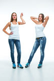 Portrait of two beautiful twin young women Stock Photography