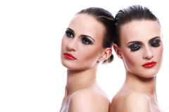 Portrait of two beautiful women Royalty Free Stock Images