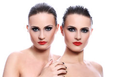 Portrait of two beautiful women Royalty Free Stock Photography