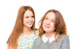 Portrait of two beautiful women friends Royalty Free Stock Images