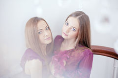 Portrait of two beautiful women Stock Photography