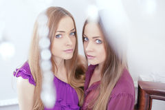 Portrait of two beautiful women Royalty Free Stock Photos