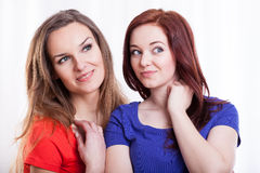 Portrait of a two beautiful women Royalty Free Stock Images