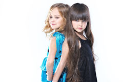 Portrait of two beautiful young girlfriends Royalty Free Stock Photos