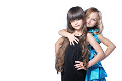 Portrait of two beautiful young girlfriends Stock Images