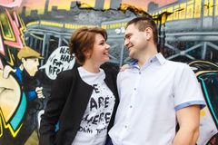 Portrait of two beautiful young lovers Stock Photos