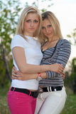 Portrait of two beautiful young women Stock Image