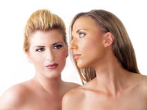 Portrait of two blond women bare shoulders Stock Photo