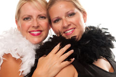 Portrait of Two Blonde Haired Smiling Girls Stock Images
