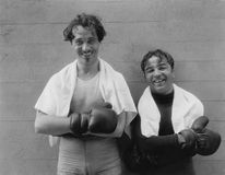Portrait of two boxers. (All persons depicted are no longer living and no estate exists. Supplier grants that there will be no model release issues royalty free stock image
