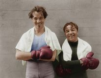 Portrait of two boxers. (All persons depicted are no longer living and no estate exists. Supplier grants that there will be no model release issues Stock Image