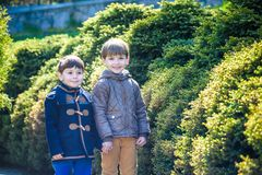 Portrait of two boys, siblings, brothers and best friends smiling. Friends hugging. Happy kids wearing warm closes in orangery par. Portrait of two boys Stock Photos