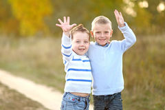 Portrait of two boys in the summer Royalty Free Stock Images