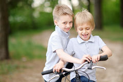 Portrait of two boys in the summer Stock Photo