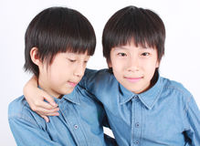 Portrait of two boys, twins. Royalty Free Stock Photos