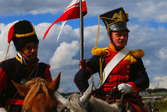 Portrait of two brave reenactors dressed as Napoleonic war soldiers. Royalty Free Stock Image