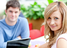Portrait of two bright students working Royalty Free Stock Photo