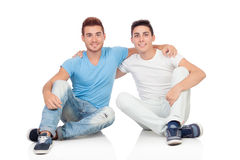 Portrait of two brothers sitting Stock Images